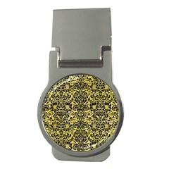 Damask2 Black Marble & Yellow Watercolor Money Clips (round)