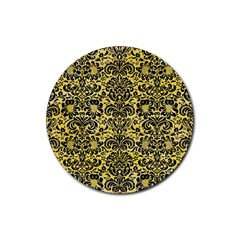 Damask2 Black Marble & Yellow Watercolor Rubber Coaster (round)