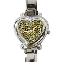 Damask2 Black Marble & Yellow Watercolor Heart Italian Charm Watch