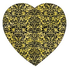 Damask2 Black Marble & Yellow Watercolor Jigsaw Puzzle (heart)
