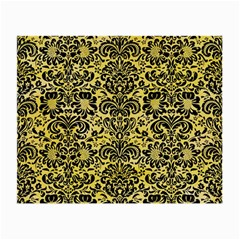 Damask2 Black Marble & Yellow Watercolor Small Glasses Cloth