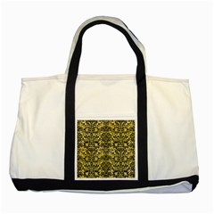 Damask2 Black Marble & Yellow Watercolor Two Tone Tote Bag