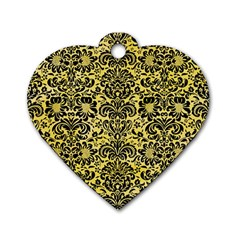 Damask2 Black Marble & Yellow Watercolor Dog Tag Heart (two Sides)