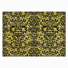 Damask2 Black Marble & Yellow Watercolor Large Glasses Cloth (2 Side)