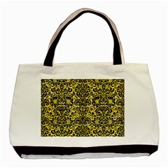 Damask2 Black Marble & Yellow Watercolor Basic Tote Bag (two Sides)