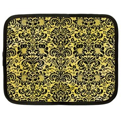 Damask2 Black Marble & Yellow Watercolor Netbook Case (large)