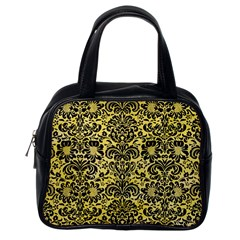 Damask2 Black Marble & Yellow Watercolor Classic Handbags (one Side)