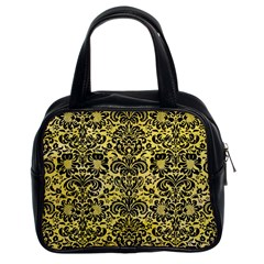 Damask2 Black Marble & Yellow Watercolor Classic Handbags (2 Sides)