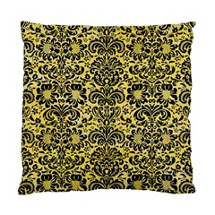 Damask2 Black Marble & Yellow Watercolor Standard Cushion Case (two Sides)