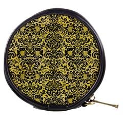 Damask2 Black Marble & Yellow Watercolor Mini Makeup Bags