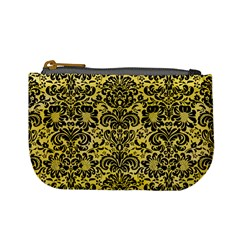 Damask2 Black Marble & Yellow Watercolor Mini Coin Purses
