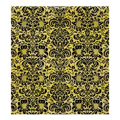 Damask2 Black Marble & Yellow Watercolor Shower Curtain 66  X 72  (large)