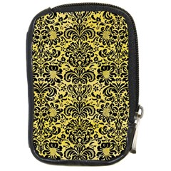 Damask2 Black Marble & Yellow Watercolor Compact Camera Cases