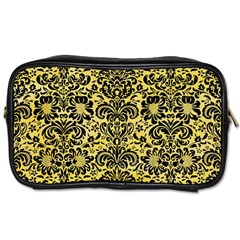 Damask2 Black Marble & Yellow Watercolor Toiletries Bags 2 Side