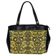 Damask2 Black Marble & Yellow Watercolor Office Handbags (2 Sides)