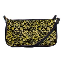 Damask2 Black Marble & Yellow Watercolor Shoulder Clutch Bags