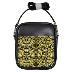Damask2 Black Marble & Yellow Watercolor Girls Sling Bags