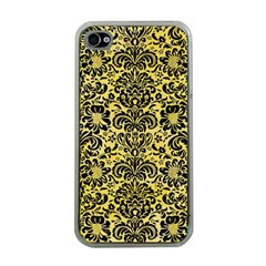 Damask2 Black Marble & Yellow Watercolor Apple Iphone 4 Case (clear)