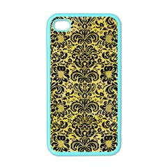 Damask2 Black Marble & Yellow Watercolor Apple Iphone 4 Case (color)
