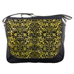 Damask2 Black Marble & Yellow Watercolor Messenger Bags
