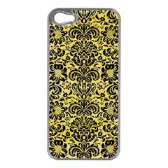 Damask2 Black Marble & Yellow Watercolor Apple Iphone 5 Case (silver)