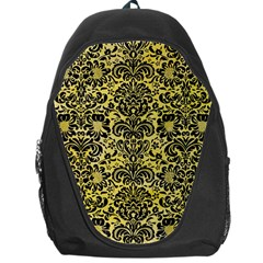 Damask2 Black Marble & Yellow Watercolor Backpack Bag
