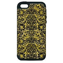 Damask2 Black Marble & Yellow Watercolor Apple Iphone 5 Hardshell Case (pc+silicone)