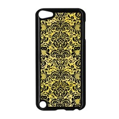 Damask2 Black Marble & Yellow Watercolor Apple Ipod Touch 5 Case (black)