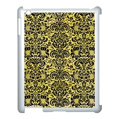 Damask2 Black Marble & Yellow Watercolor Apple Ipad 3/4 Case (white)