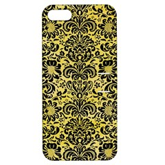 Damask2 Black Marble & Yellow Watercolor Apple Iphone 5 Hardshell Case With Stand