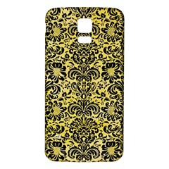 Damask2 Black Marble & Yellow Watercolor Samsung Galaxy S5 Back Case (white)