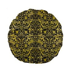 Damask2 Black Marble & Yellow Watercolor Standard 15  Premium Flano Round Cushions