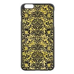 Damask2 Black Marble & Yellow Watercolor Apple Iphone 6 Plus/6s Plus Black Enamel Case