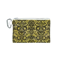 Damask2 Black Marble & Yellow Watercolor Canvas Cosmetic Bag (s)