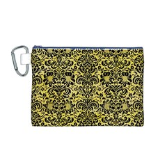 Damask2 Black Marble & Yellow Watercolor Canvas Cosmetic Bag (m)