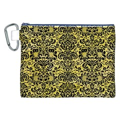 Damask2 Black Marble & Yellow Watercolor Canvas Cosmetic Bag (xxl)