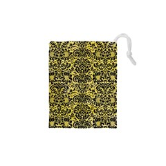 Damask2 Black Marble & Yellow Watercolor Drawstring Pouches (xs)