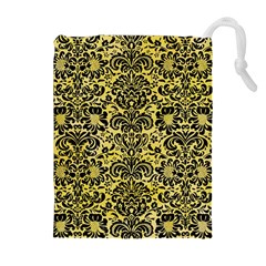 Damask2 Black Marble & Yellow Watercolor Drawstring Pouches (extra Large)