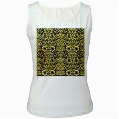 Damask2 Black Marble & Yellow Watercolor (r) Women s White Tank Top