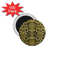 Damask2 Black Marble & Yellow Watercolor (r) 1 75  Magnets (100 Pack)