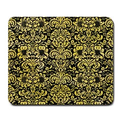 Damask2 Black Marble & Yellow Watercolor (r) Large Mousepads