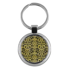 Damask2 Black Marble & Yellow Watercolor (r) Key Chains (round)