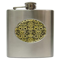 Damask2 Black Marble & Yellow Watercolor (r) Hip Flask (6 Oz)