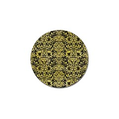Damask2 Black Marble & Yellow Watercolor (r) Golf Ball Marker (4 Pack)