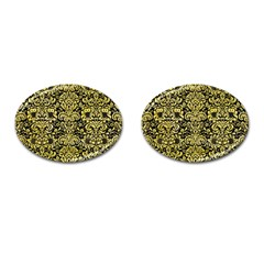 Damask2 Black Marble & Yellow Watercolor (r) Cufflinks (oval)