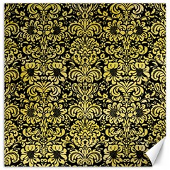 Damask2 Black Marble & Yellow Watercolor (r) Canvas 16  X 16