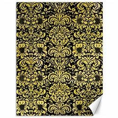 Damask2 Black Marble & Yellow Watercolor (r) Canvas 36  X 48