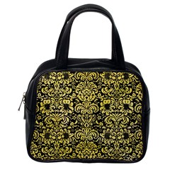 Damask2 Black Marble & Yellow Watercolor (r) Classic Handbags (one Side)