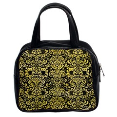 Damask2 Black Marble & Yellow Watercolor (r) Classic Handbags (2 Sides)