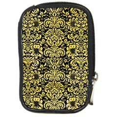 Damask2 Black Marble & Yellow Watercolor (r) Compact Camera Cases